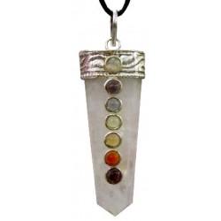 Pendentif quartz rose 7 chakras