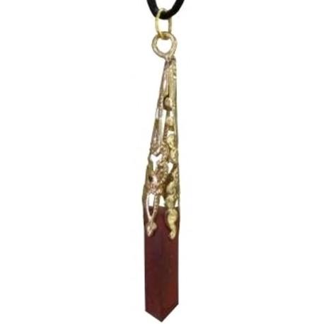 Pendentif bijou pierre jaspe rouge