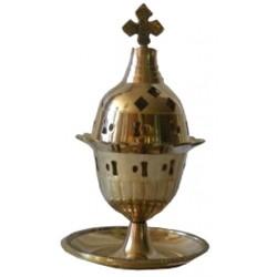 Encensoir laiton coupelle et croix