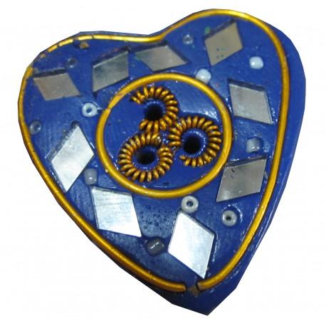 Porte encens coeur bleu