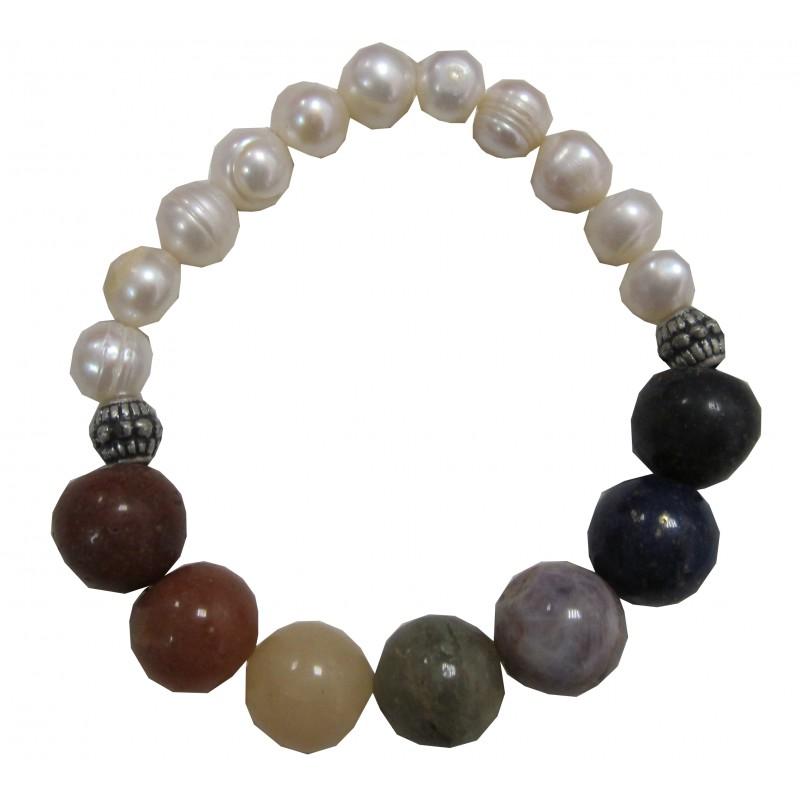 bracelet perles de culture chakras. Black Bedroom Furniture Sets. Home Design Ideas