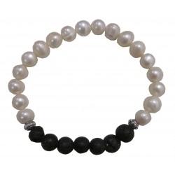 Bracelet perle de culture et lave de volcan