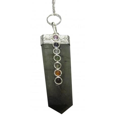 Pendule cristal de roche 7 chakras