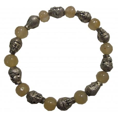 Bracelet Bouddhas pierre citrine