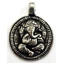 Pendentif rond argenté Ganesh